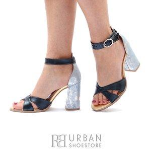 Sandale cu toc dama din piele naturala Leofex- 148 Gri Blue Box Sidefat