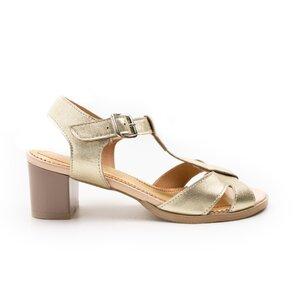 Sandale cu toc dama din piele naturala,Leofex-156-1 Auriu Box