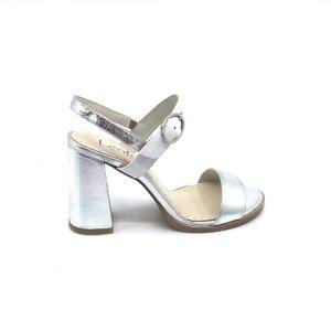 Sandale cu toc dama din piele naturala, Leofex- 222 Alb Argintiu