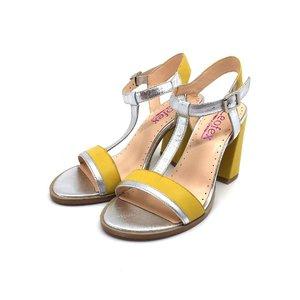 Sandale cu toc dama din piele naturala,Leofex- 225-1 Galben cu Argintiu Box