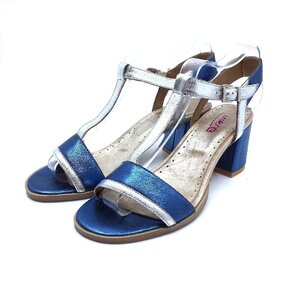Sandale cu toc dama din piele naturala, Leofex - 227 Blue argintiu metalizat