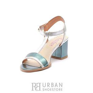 Sandale cu toc dama din piele naturala, Leofex - 227 Blue cu Argintiu Sintetic Box