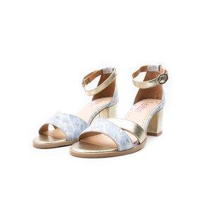 Sandale cu toc dama din piele naturala, Leofex - 228 Blue+auriu box
