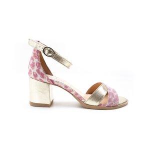 Sandale cu toc dama din piele naturala, Leofex - 228 Roz Auriu Box