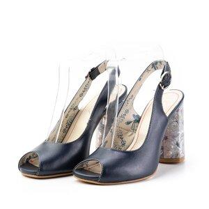 Sandale cu toc dama din piele naturala, Leofex - 250 albastru box