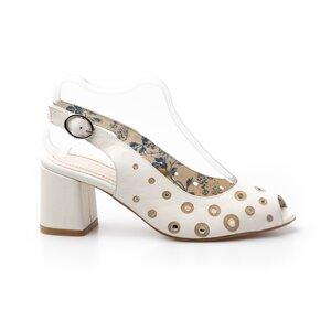 Sandale cu toc dama din piele naturala, Leofex - 253-1 Alb Box Perforat