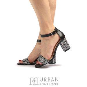 Sandale cu toc dama din piele naturala Leofex-813 Negru