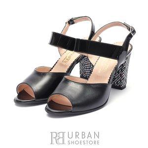 Sandale cu toc dama din piele naturala Leofex- 838 Negru Box