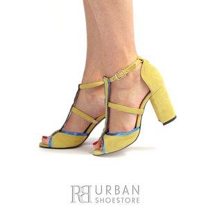Sandale cu toc elegante dama din piele intoarsa -1061-14 Galben Albastru Velur