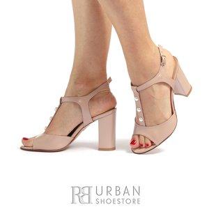 Sandale cu toc elegante dama din piele naturala - 1010 Nude Box