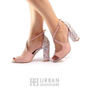 Sandale cu toc elegante dama din piele naturala-  1952 Taupe