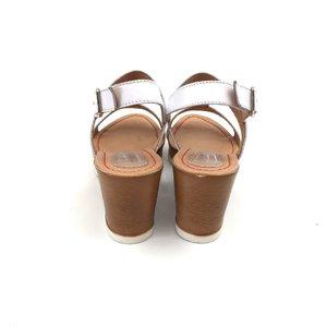 Sandale dama casual dama din piele naturala Leofex- 163 Alb cu Nude Box