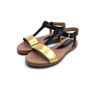 Sandale dama de piele naturala Leofex- Mostra Alesia Negru-Auriu Box