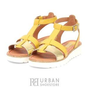 Sandale dama din piele naturala- 151 Galben -auriu