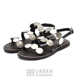 Sandale dama din piele naturala - 707 Negru Argintiu Box