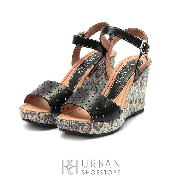 Sandale dama din piele naturala cu platforma Leofex -169 Negru Box Perforat