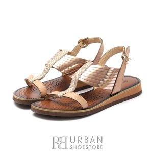 Sandale dama din piele naturala - Eva18 Bronz Bej Metalizat Box