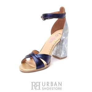 Sandale dama din piele naturala Leofex- 148 Blue Inchis Box Sidefat