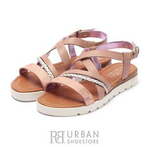 Sandale dama din piele naturala Leofex- 205  Taupe Auriu