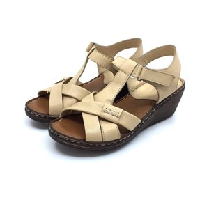 Sandale dama din piele naturala Leofex- Mostra  Violeta Bej Box
