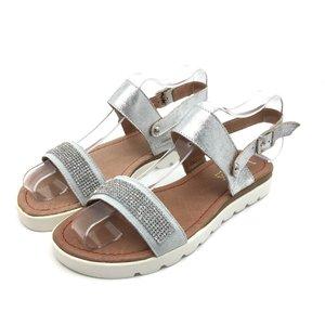 Sandale de piele naturala 043 Argintiu Pietre