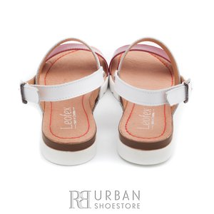 Sandale de piele naturala 043 rosu - bej box