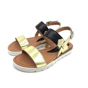 Sandale de piele naturala- 168 Negru Auriu Box