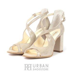 Sandale din piele intoarsa - 1834 Argintiu Sidef
