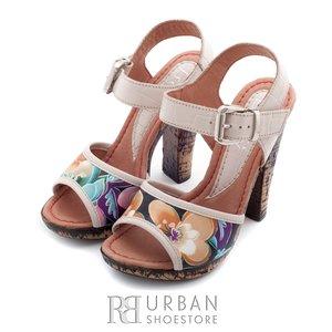 Sandale cu toc dama din piele naturala, Leofex - 038-3 bej-flori