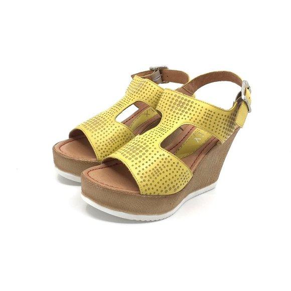 Sandale din piele naturala- 165 Galben Box