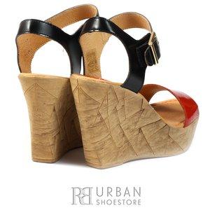Sandale din piele naturala - 339 negru rosu