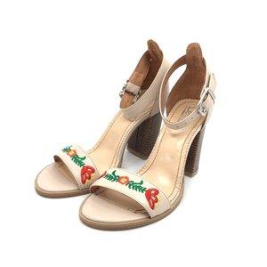 Sandale din piele naturala brodate- 130 Bej