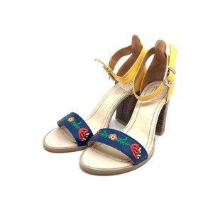 Sandale din piele naturala brodate Leofex - Mostra 130 Blue cu Galben