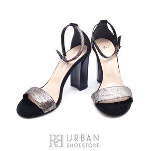 Sandale din piele naturala - C9 negru argintiu
