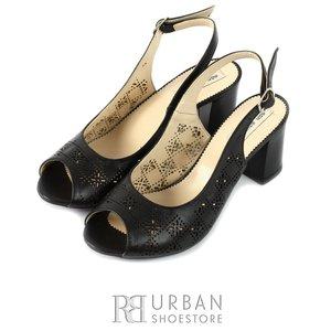 Sandale din piele naturala cu perforatii - 1159-5 negru