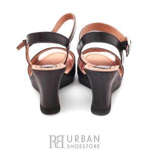 Sandale din piele naturala cu platforma - 034-1 negru