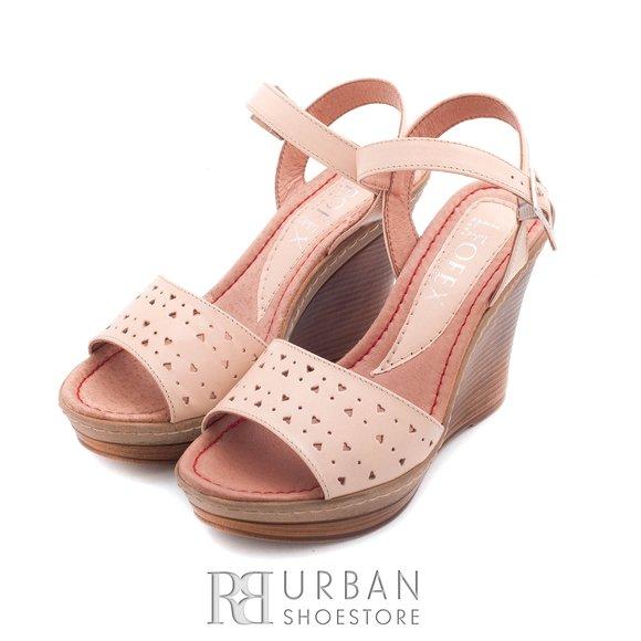 Sandale din piele naturala cu platforma - 034 bej
