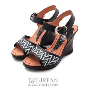 Sandale din piele naturala cu platforma - 038-2 negru