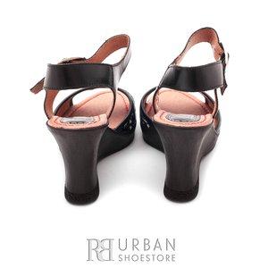 Sandale din piele naturala cu platforma - 038-2 negru-1