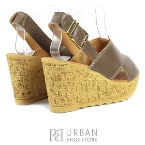 Sandale din piele naturala cu platforma - 346 taupe