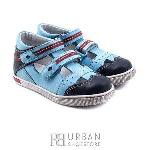 Sandale din piele naturala nabuc si box pentru copii – 120 albastru