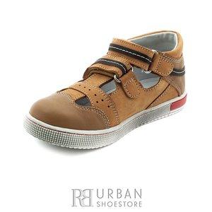 Sandale din piele naturala nabuc si box pentru copii – 120 camel
