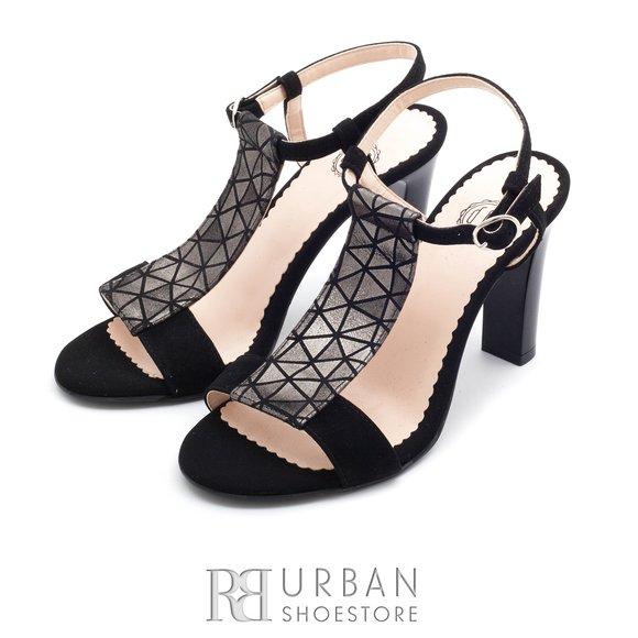Sandale elegante din piele intoarsa - 1317-10 negru