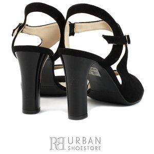 Sandale elegante din piele intoarsa - 1317-6 negru
