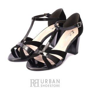 Sandale elegante din piele intoarsa si lac - S3 Negru Lac Velur