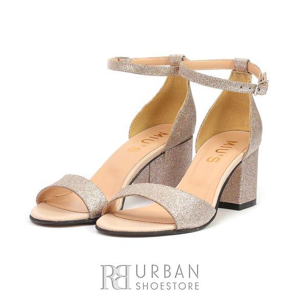Sandale elegante din piele naturala - 298 Nude Glitter